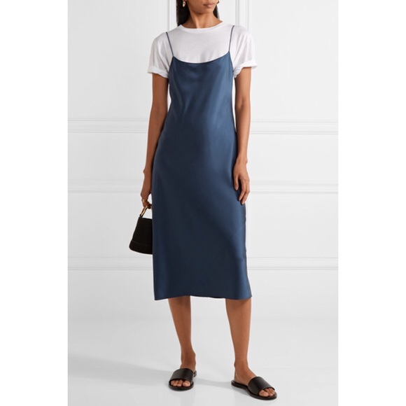 e9a4b03ad1a7 theory Dresses | Blue Telson Satin Slip Dress | Poshmark